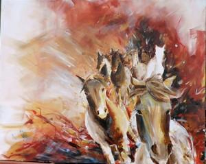 Pferde in Rot